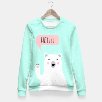 Thumbnail image of Cute Winter Polar Bear says Hello-  Illustration - DESIGN -  Fitted Waist Sweater, Live Heroes
