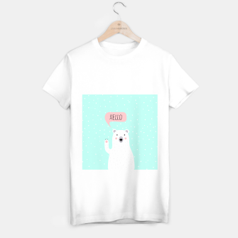 Thumbnail image of Cute Winter Polar Bear says Hello-  Illustration - DESIGN -  T-shirt regular, Live Heroes