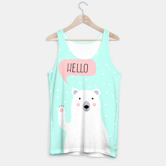 Thumbnail image of Cute Winter Polar Bear says Hello-  Illustration - DESIGN -  Tank Top, Live Heroes
