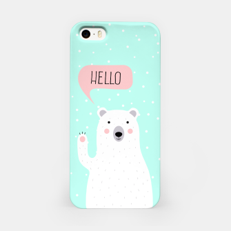 Thumbnail image of Cute Winter Polar Bear says Hello-  Illustration - DESIGN -  iPhone Case, Live Heroes
