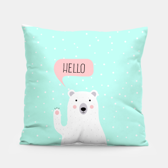Thumbnail image of Cute Winter Polar Bear says Hello-  Illustration - DESIGN -  Pillow, Live Heroes