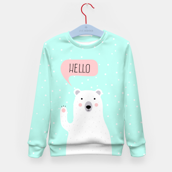Thumbnail image of Cute Winter Polar Bear says Hello-  Illustration - DESIGN -  Kid's Sweater, Live Heroes