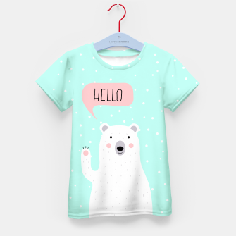 Thumbnail image of Cute Winter Polar Bear says Hello-  Illustration - DESIGN -  Kid's T-shirt, Live Heroes