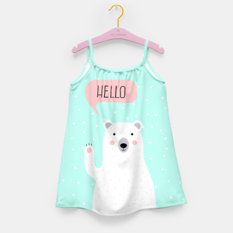 Thumbnail image of Cute Winter Polar Bear says Hello-  Illustration - DESIGN -  Girl's Dress, Live Heroes