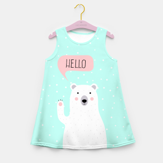 Thumbnail image of Cute Winter Polar Bear says Hello-  Illustration - DESIGN -  Girl's Summer Dress, Live Heroes