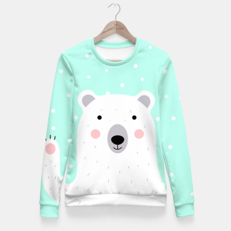 Thumbnail image of Cute Winter Polar Bear -  Illustration - DESIGN -  Fitted Waist Sweater, Live Heroes