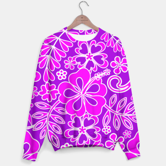 Thumbnail image of Hibiscus Pink and Purple Pattern  Sweater, Live Heroes