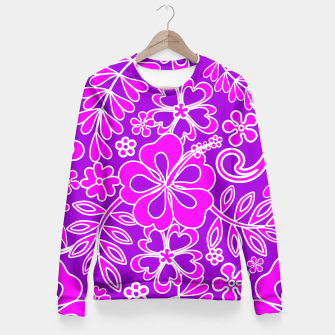 Thumbnail image of Hibiscus Pink and Purple Pattern  Fitted Waist Sweater, Live Heroes