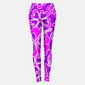 Thumbnail image of Hibiscus Pink and Purple Pattern  Leggings, Live Heroes