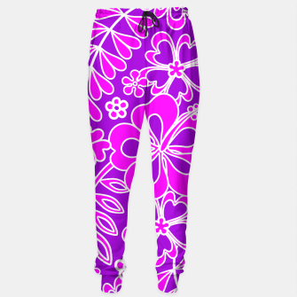 Thumbnail image of Hibiscus Pink and Purple Pattern  Sweatpants, Live Heroes