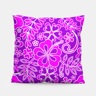 Thumbnail image of Hibiscus Pink and Purple Pattern  Pillow, Live Heroes