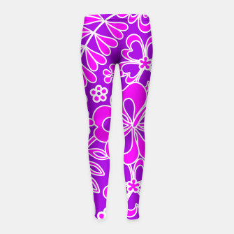 Thumbnail image of Hibiscus Pink and Purple Pattern  Girl's Leggings, Live Heroes