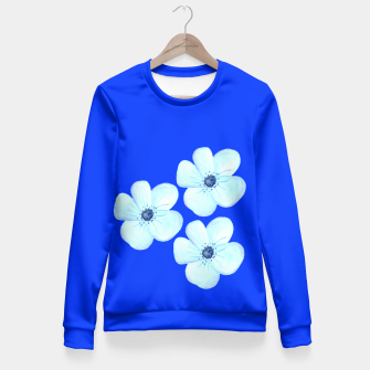 Thumbnail image of Cornflower Blue Watercolor Flower Floral - DESIGN -  Fitted Waist Sweater, Live Heroes