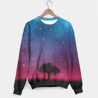 Miniatur Galaxy Cosmos Sky - Black Tree - Blue Pink Scenery Sweater, Live Heroes