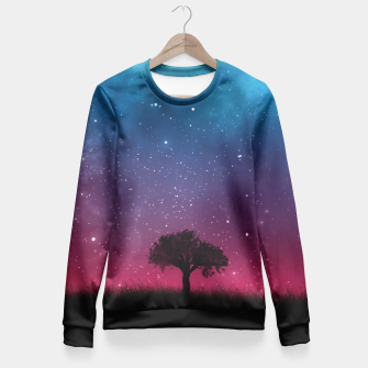 Miniatur Galaxy Cosmos Sky - Black Tree - Blue Pink Scenery Fitted Waist Sweater, Live Heroes