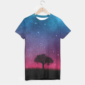 Miniatur Galaxy Cosmos Sky - Black Tree - Blue Pink Scenery T-shirt, Live Heroes