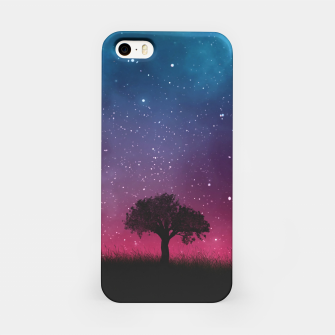 Miniatur Galaxy Cosmos Sky - Black Tree - Blue Pink Scenery iPhone Case, Live Heroes