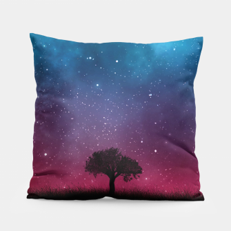 Miniatur Galaxy Cosmos Sky - Black Tree - Blue Pink Scenery Pillow, Live Heroes