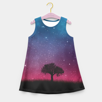 Miniatur Galaxy Cosmos Sky - Black Tree - Blue Pink Scenery Girl's Summer Dress, Live Heroes