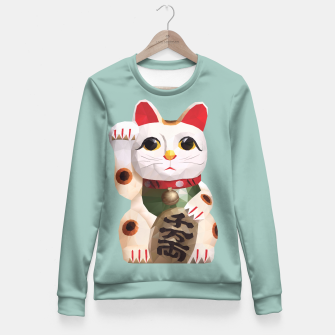 Thumbnail image of Fortune Cat (Maneki Neko) Polygon Art Fitted Waist Sweater, Live Heroes