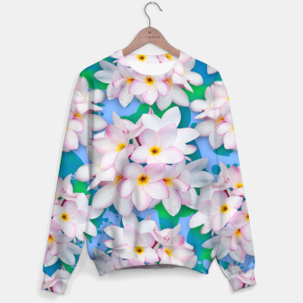 Thumbnail image of Plumeria Bouquet Exotic Summer Pattern  Sweater, Live Heroes