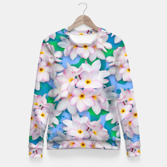 Thumbnail image of Plumeria Bouquet Exotic Summer Pattern  Fitted Waist Sweater, Live Heroes