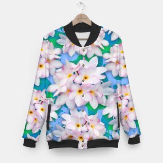 Thumbnail image of Plumeria Bouquet Exotic Summer Pattern  Baseball Jacket, Live Heroes