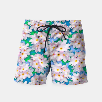 Thumbnail image of Plumeria Bouquet Exotic Summer Pattern  Swim Shorts, Live Heroes