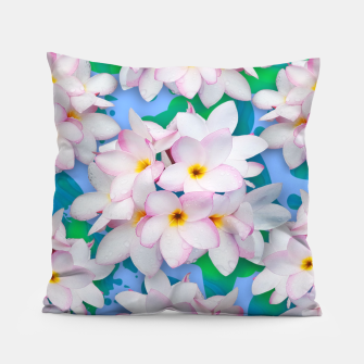 Thumbnail image of Plumeria Bouquet Exotic Summer Pattern  Pillow, Live Heroes