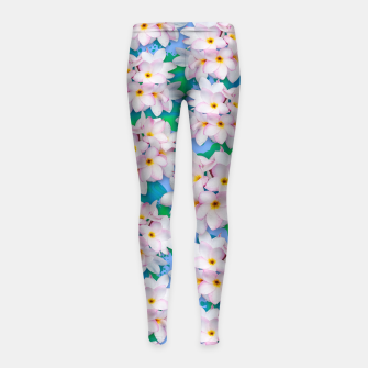 Thumbnail image of Plumeria Bouquet Exotic Summer Pattern  Girl's Leggings, Live Heroes