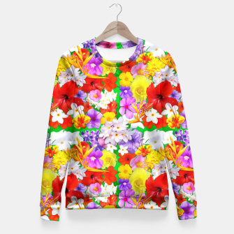 Thumbnail image of Exotic Flowers Colorful Explosion  Fitted Waist Sweater, Live Heroes