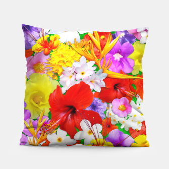 Thumbnail image of Exotic Flowers Colorful Explosion  Pillow, Live Heroes