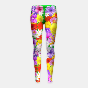 Thumbnail image of Exotic Flowers Colorful Explosion  Girl's Leggings, Live Heroes