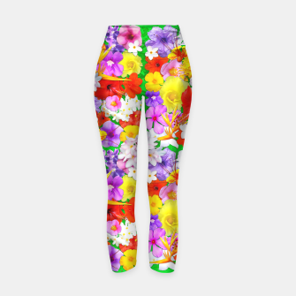 Thumbnail image of Exotic Flowers Colorful Explosion  Yoga Pants, Live Heroes