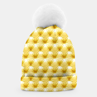Thumbnail image of Faux Golden Leather Buttoned Beanie, Live Heroes