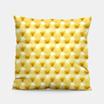 Thumbnail image of Faux Golden Leather Buttoned Pillow, Live Heroes