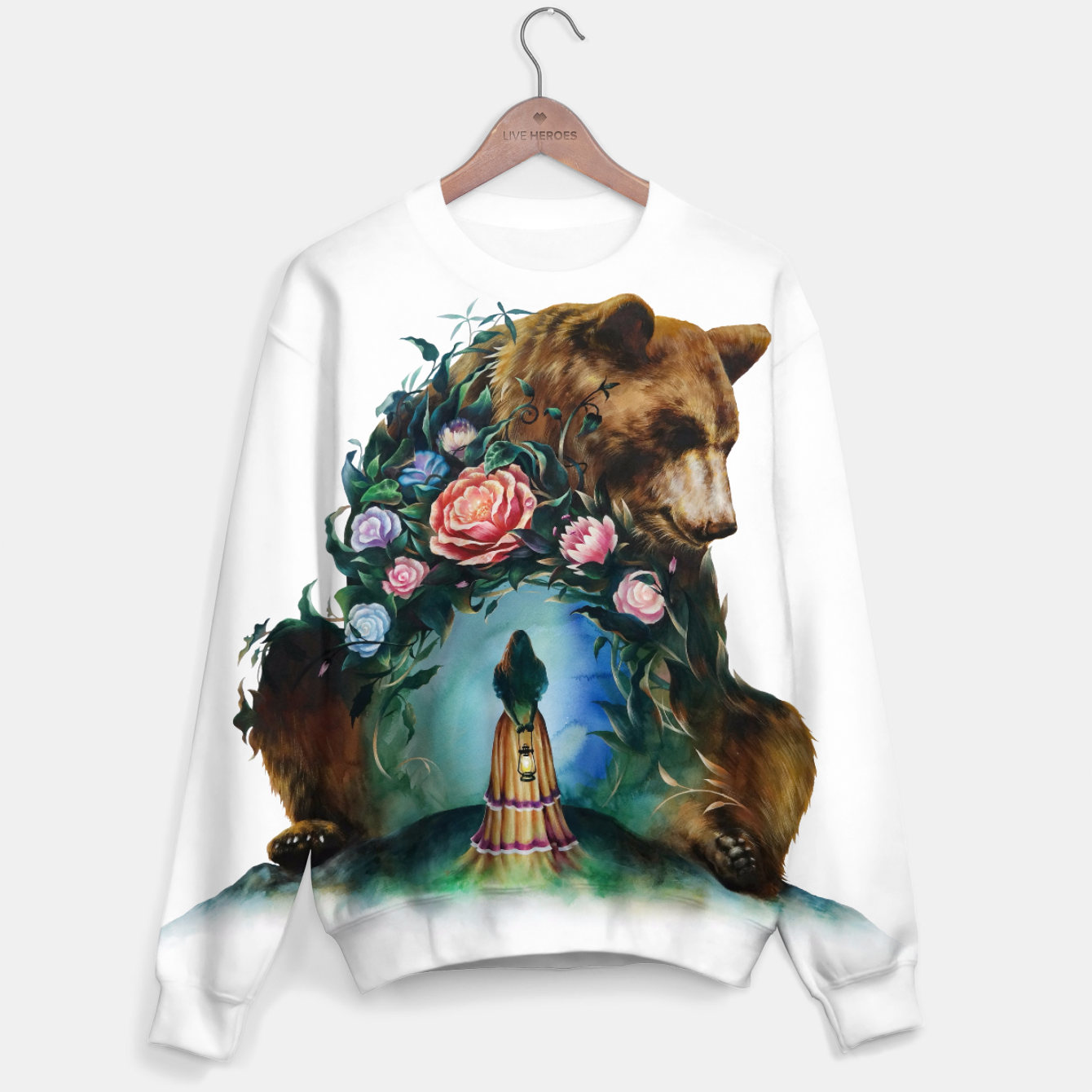 Image of FLOWERS & BEAR Sweater - Live Heroes