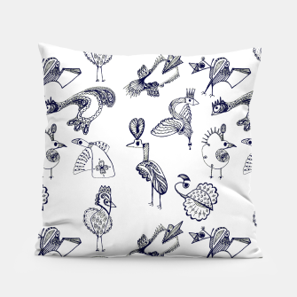 Thumbnail image of Sketch art with fairy birds and animals Pillow, Live Heroes