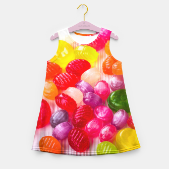 Miniatur Colorful Sweet Candies Food Lollipop Girl's Summer Dress, Live Heroes
