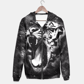 Miniatur Black & White Beautiful Tiger Head Wildlife Hoodie, Live Heroes