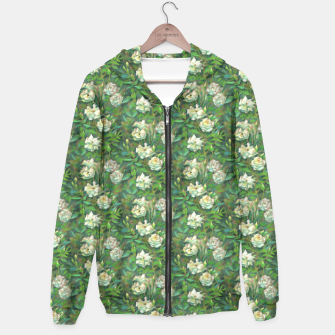 Thumbnail image of White roses, green leaves Hoodie, Live Heroes