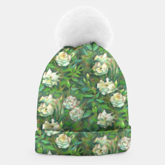 Thumbnail image of White roses, green leaves Beanie, Live Heroes
