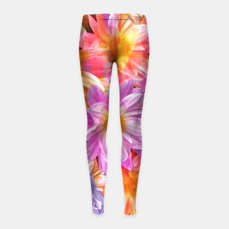 Thumbnail image of Pattern of colorful flowers Girl's Leggings, Live Heroes