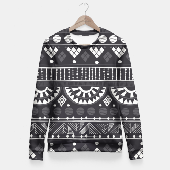 Thumbnail image of Black-White Ethno Pattern Taillierte Sweatshirt, Live Heroes