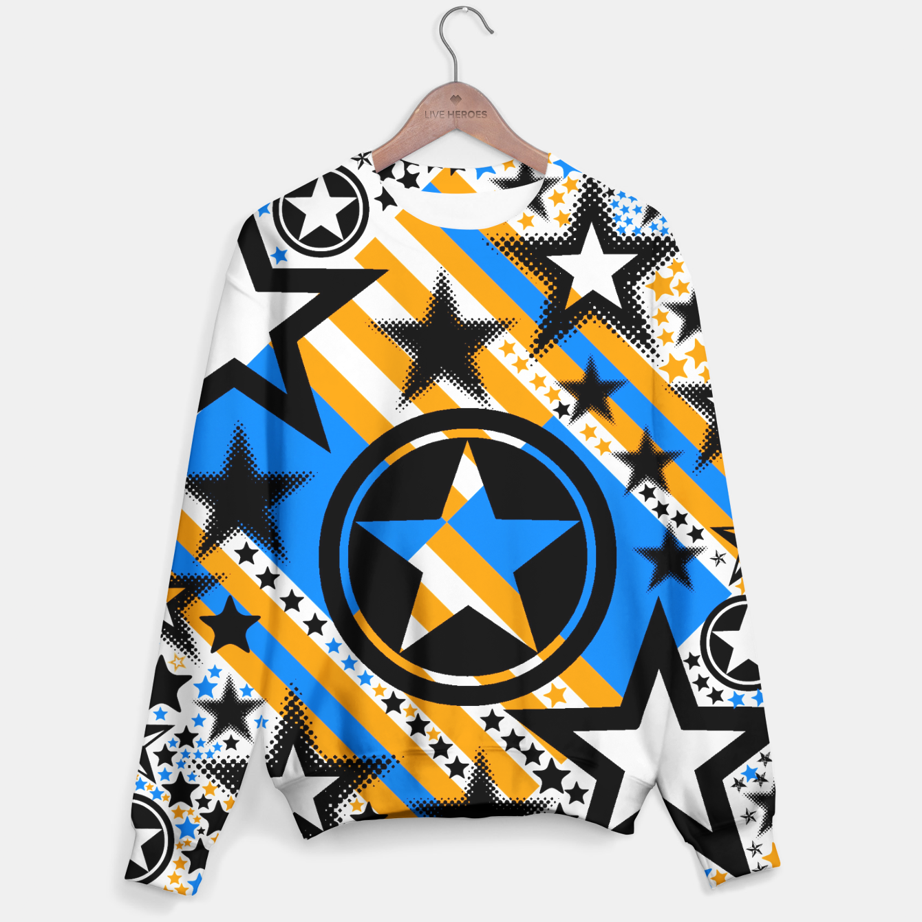 Image of BLACK GOLD AND BLUE-STARS 2 Sweater - Live Heroes