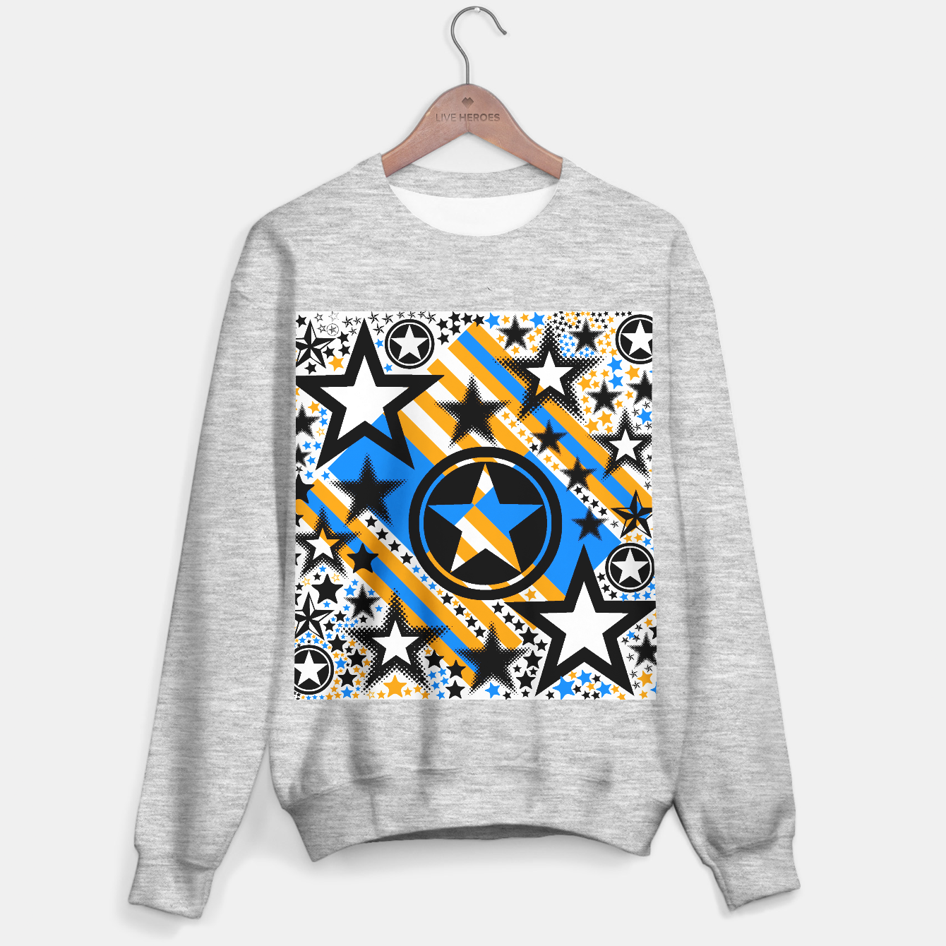 Image of BLACK GOLD AND BLUE-STARS 2 Sweater regular - Live Heroes