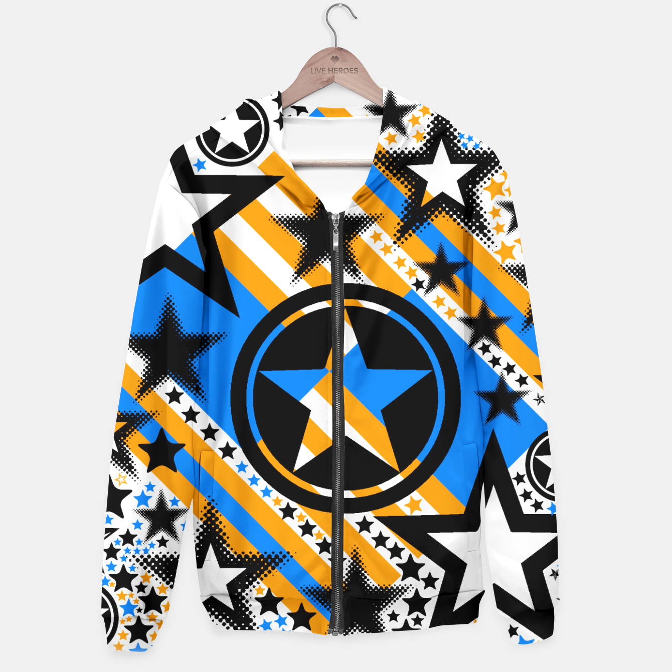 Image of BLACK GOLD AND BLUE-STARS 2 Hoodie - Live Heroes
