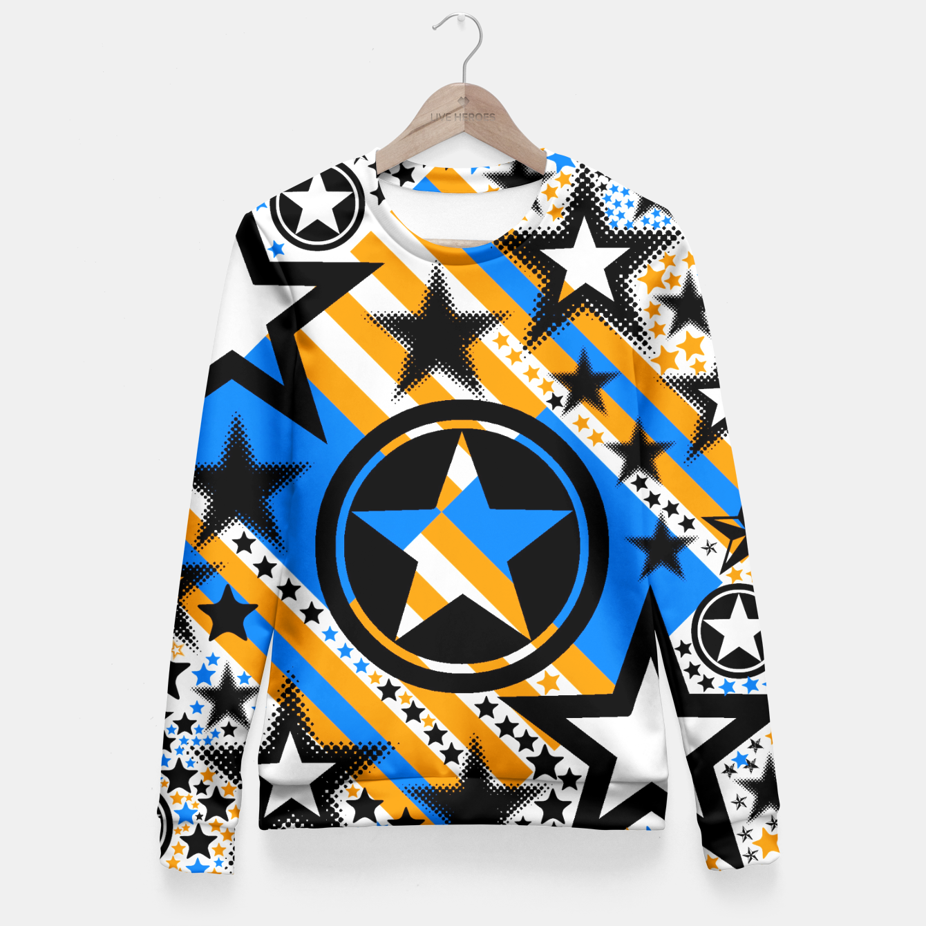 Image of BLACK GOLD AND BLUE-STARS 2 Fitted Waist Sweater - Live Heroes