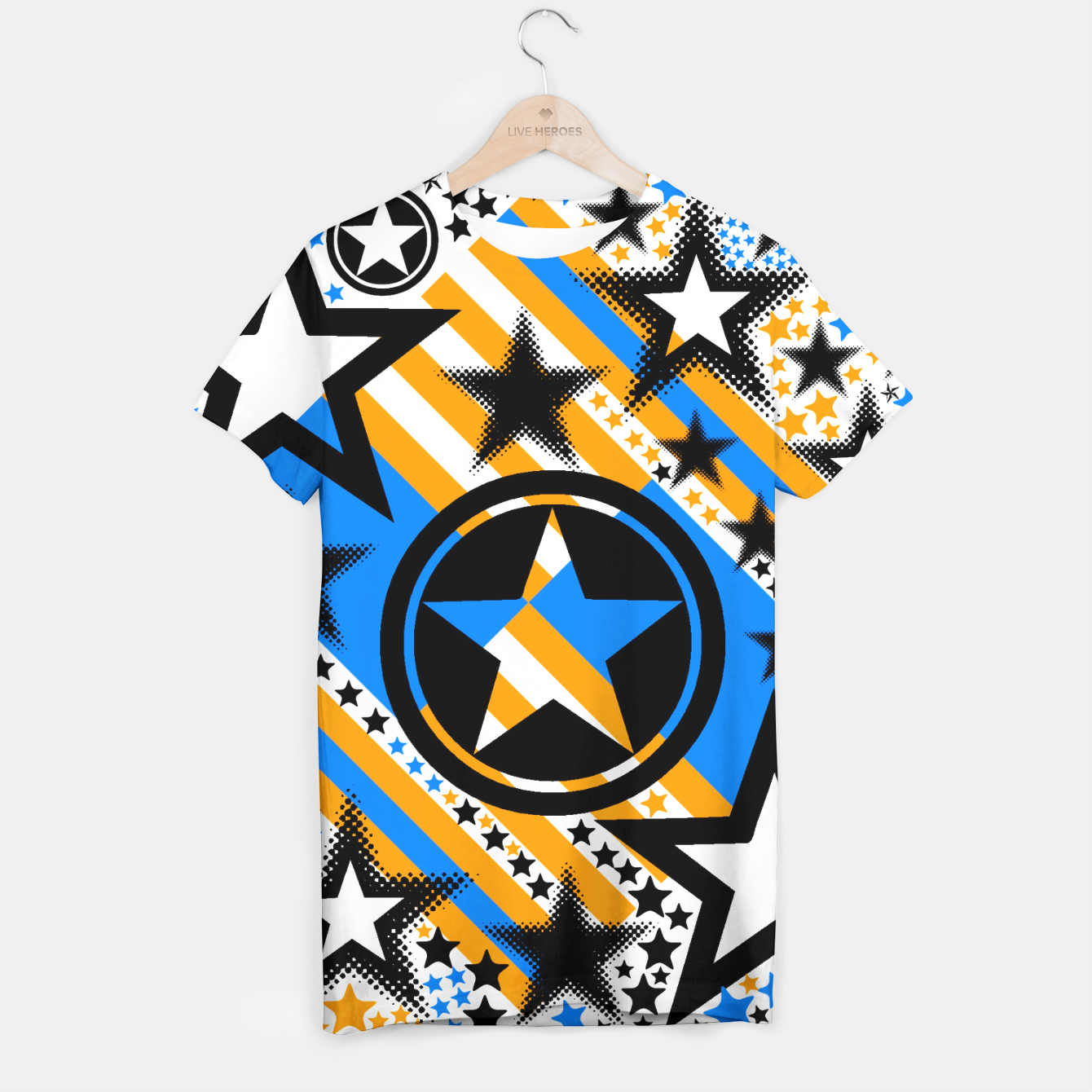 Image of BLACK GOLD AND BLUE-STARS 2 T-shirt - Live Heroes