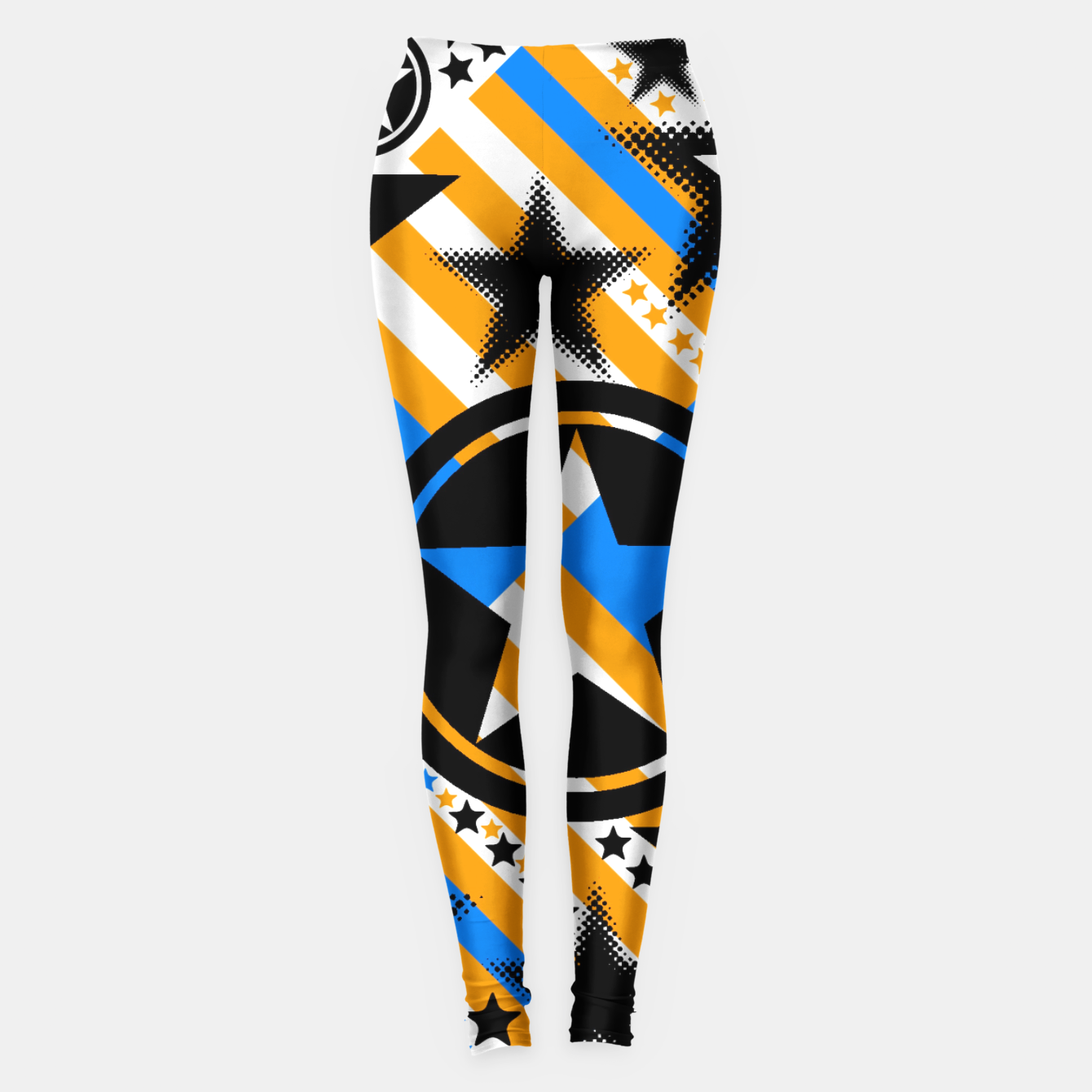 Image of BLACK GOLD AND BLUE-STARS 2 Leggings - Live Heroes